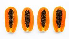 Sweet Ripe Papaya On White Bac...