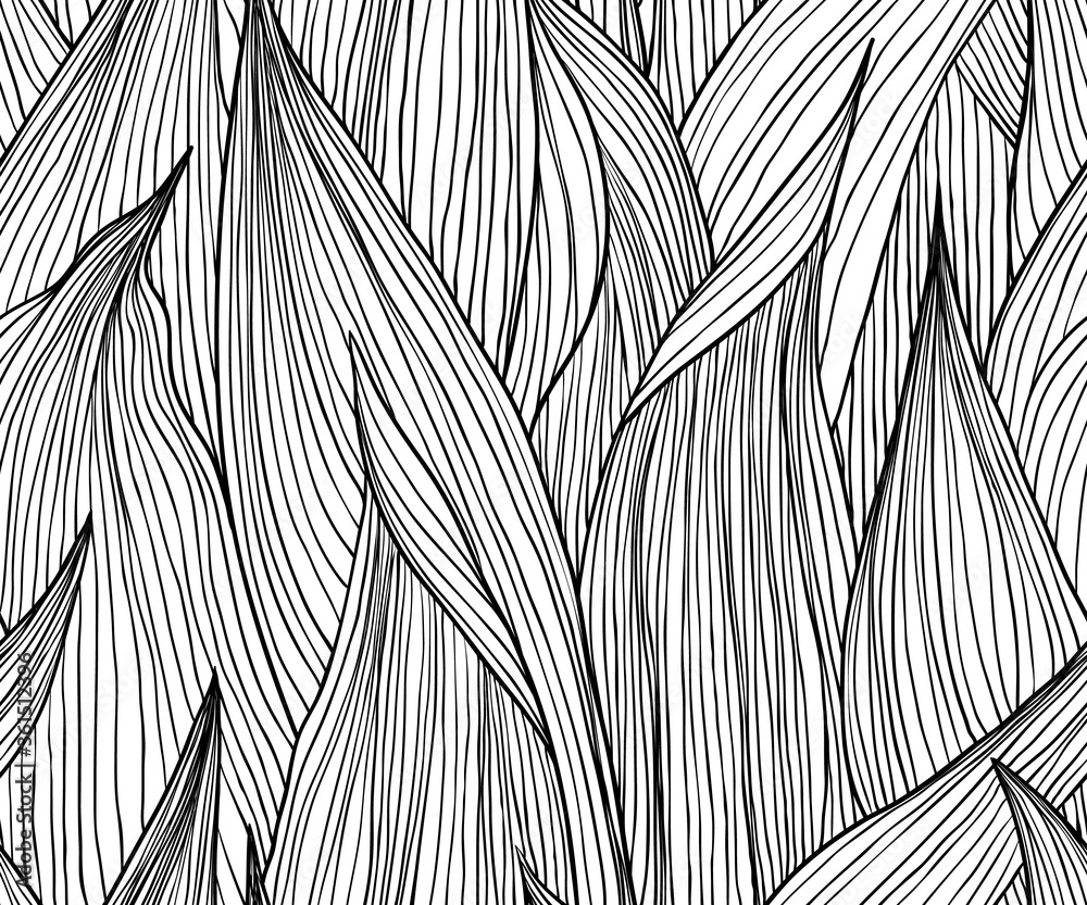 Fototapeta Seamless pattern, hand drawn outline black ink long shape leaves on white background