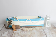 Wooden Boat Newborn Digital Prop