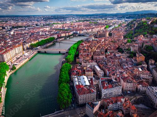 La ville de Lyon et le Vieux Lyon Wallpaper Mural