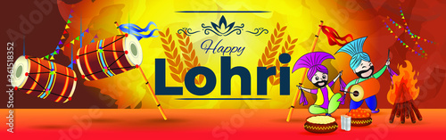 Obraz na plátně Vector illustration for happy Lohri, Indian punjabi festival with festival theme elements