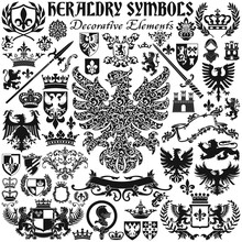 Heraldic Royal Symbol Coat Of Arms Elements Vector Silhouette Collection