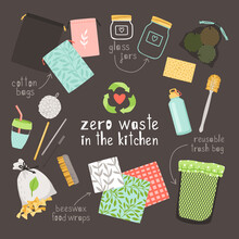 Zero Waste On Kitchen. Beeswax Food Wraps, Cotton Bags And Glass Jars Is Durable And Reusable Eco Friendly Items. Hand Drawn Objects Without Plastic Isolated On Dark Background