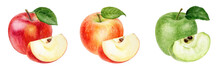 Set Of Three Apples Watercolor Illustration Isolated On White Background