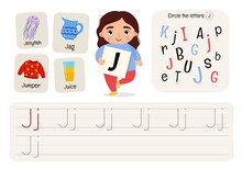 Kids Learning Material. Worksheet For Learning Alphabet. Letter J.