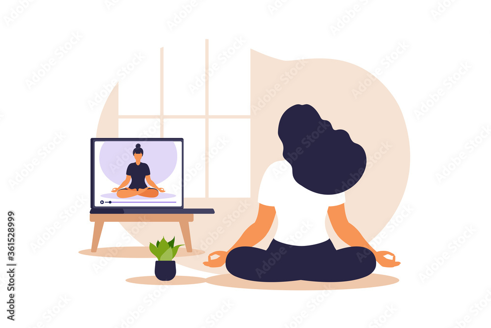 Fototapeta Yoga online concept with african woman doing yoga exercise at home with online instructor. Wellness and healthy lifestyle at home. Woman doing yoga exercises. Vector illustration.