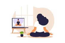 Yoga Online Concept With African Woman Doing Yoga Exercise At Home With Online Instructor. Wellness And Healthy Lifestyle At Home. Woman Doing Yoga Exercises. Vector Illustration.