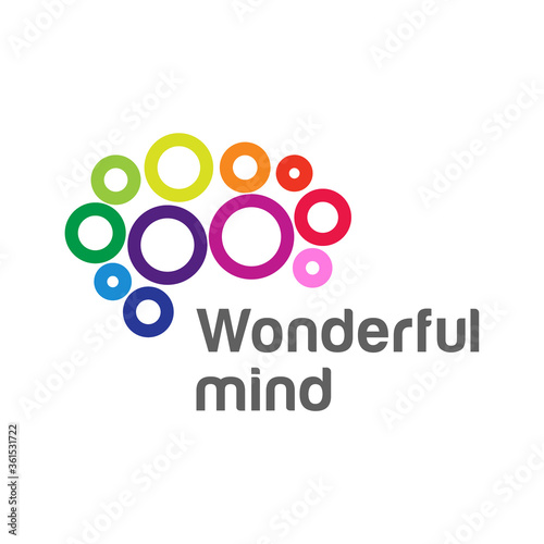 Fototapety, obrazy: Brain abstract logo creative design. Vector. Mind icon. Brainstorm concept. Colorful cloud shape sign. Abstract template logo, identity for start up, business, smart, digital, technology, internet.