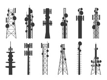 Radio Tower Silhouettes. Trans...