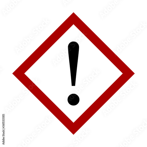 Attention Danger or Hazard Warning Sign with Exclamation Mark and Diamond Shaped Frame Fototapet