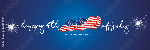 4th of july Happy Independence day handwritten typography text USA wavy flag blue background banner - 361537522