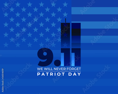 Stampa su Tela vector illustration for american patriot day - we will never forget