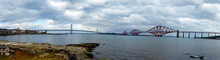 Scotland, Panoramic Views Of Firth Of Forth Bay And Forth Rail Bridge