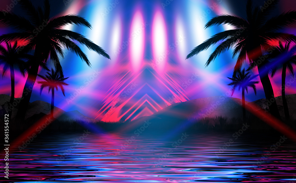 Fototapeta Silhouettes of tropical palm trees on a background of abstract background with neon glow. Reflection of palm trees on the water. 3d illustration