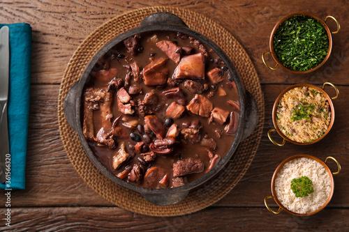 Brazilian Feijoada Food. Top view.