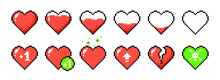Pixel Health Heart Bar. Set Of...
