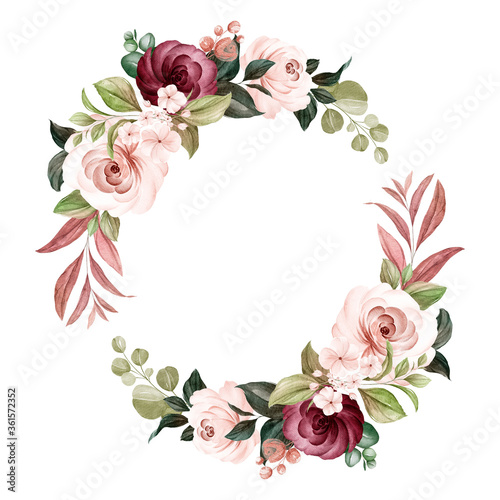 Obraz Wreath of brown and burgundy watercolor roses and wild flowers with various leaves. Botanic illustration for card composition design - fototapety do salonu