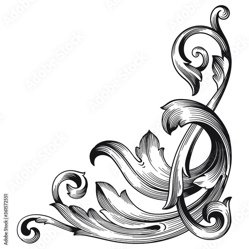 Obraz na plátně Vintage Ornament Element in baroque style with filigree and floral engrave the best situated for create frame, border, banner