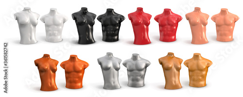 Mannequin of female and male torso plastic color Fototapeta