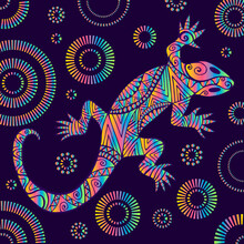 Psychedelic Lizard With Many O...