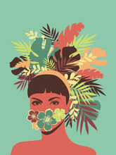 Beautiful Lady Silhouette Wearing Exotic Flowers And Leaves On Head Vector, Magazine Poster Illustration