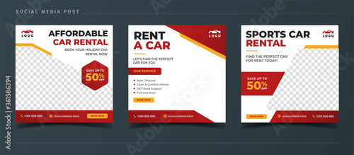 Rent a car banner for flyer and social media post template Fotobehang