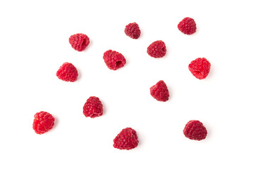 Fresh  red raspberry isolated on white background. Berry in close-up