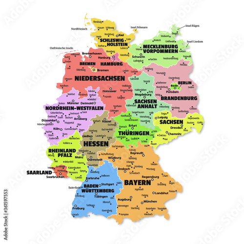 Photo Detailed map of Germany