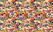 Biodiverse Mushrooms Pattern With Hidden Small Eyes