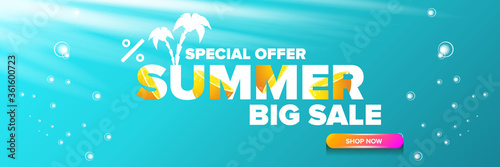 vector summer sale horizontal web banner or poster Wallpaper Mural