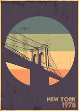 Brooklyn Bridge 1978 Poster, Symbol Of New York, Vintage Colors, Grunge Texture