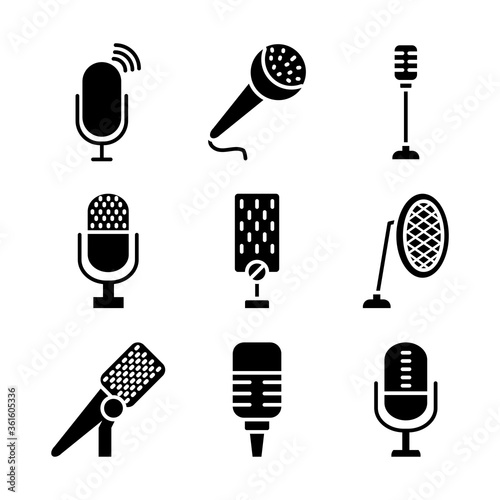 podcasting and retro microphones icon set, silhouette style Canvas Print