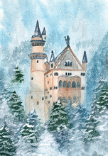 Watercolor Castle With Trees W...