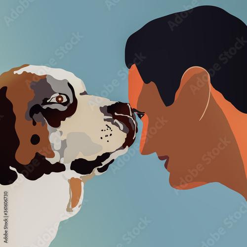 Photo Postać młodego mężczyzny nawiązującego kontakt z dużym psem