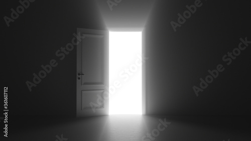 3d render open door shine in dark room Canvas Print