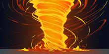 Flat Style Fire Twist Tornado