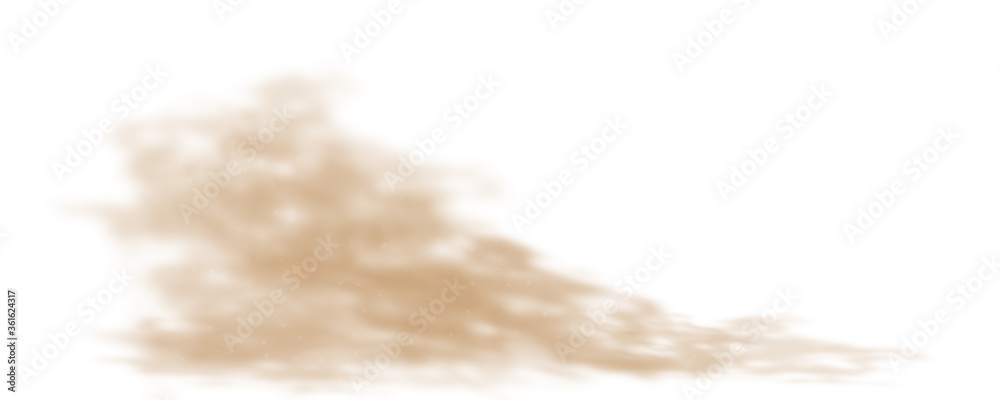 Fototapeta Dust sand cloud on a dusty road from a car. Scattering trail on track from fast movement. Transparent realistic vector stock illustration