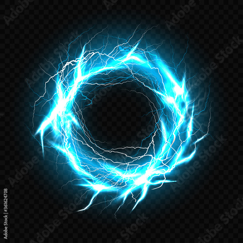 Cuadros en Lienzo Electric ball, lightning plasma sphere, circle strike impact place in turquoise color with lens flare effect isolated on black background