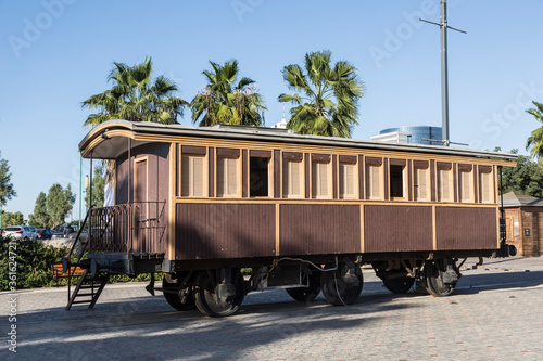 Old wooden railway car at the Old railway station. Tel Aviv, Israel
