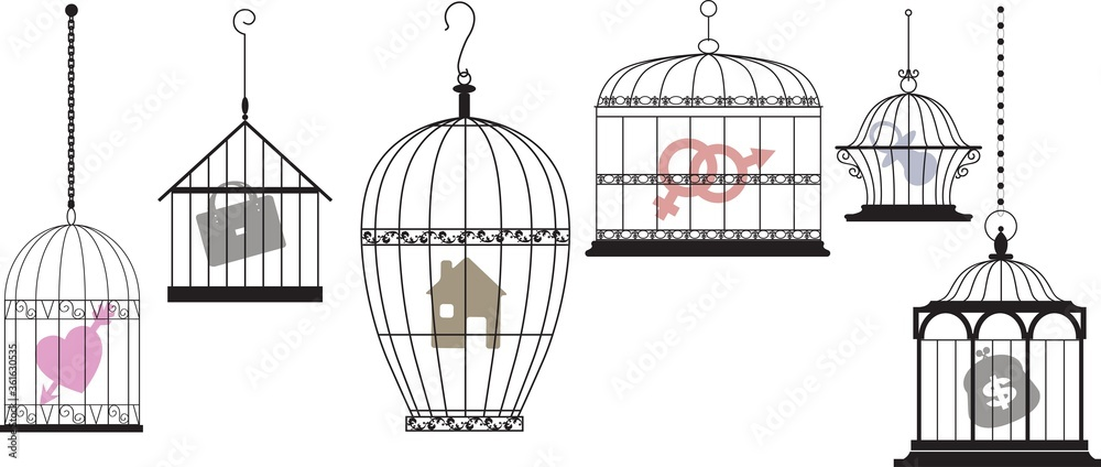 Fototapeta Symbols of personal interests and feelings locked in separate cages as a metaphor for a psychological compartmentalization, EPS 8 vector illustration