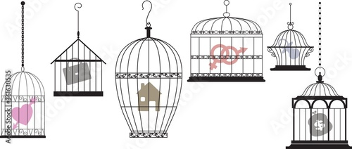 Obraz na plátně Symbols of personal interests and feelings locked in separate cages as a metapho