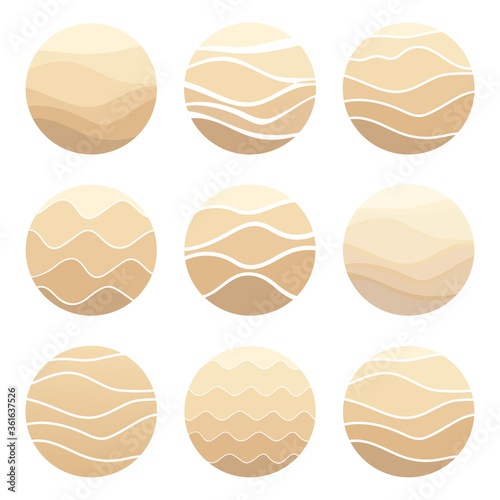 Tablou Canvas Sand, dunes, beach, desert abstract logo pattern of wavy lines in beige color