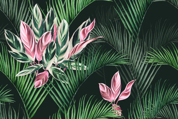 Fototapeta Do pokoju Watercolor painting colorful coconut,green,pink leaves seamless pattern background.Watercolor hand drawn illustration tropical exotic leaf prints for wallpaper,textile Hawaii aloha summer style.