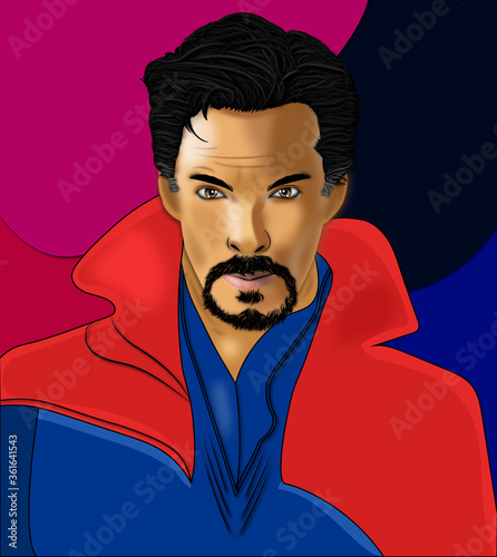 Fotografia, Obraz Dr Strange Benedict Cumberbatch Vector Art Portrait Illustration