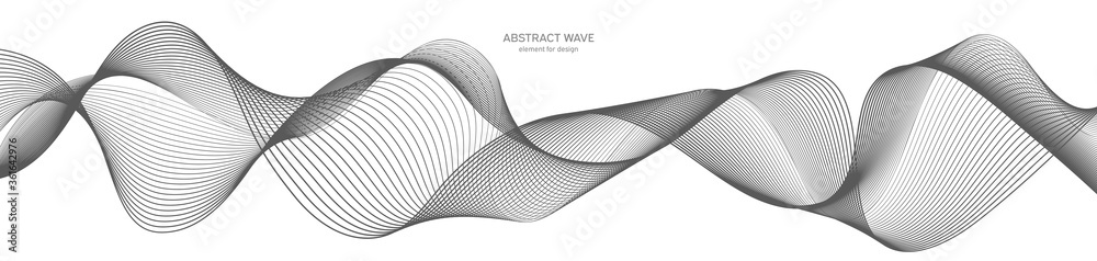 Fototapeta Abstract wave element for design. Digital frequency track equalizer. Stylized line art background. Vector illustration. Wave with lines created using blend tool. Curved wavy line, smooth stripe.