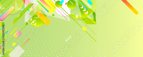 Photo Bright summer playful asymmetric cheerful green background juicy colors orange with geometric elements, lines and dots