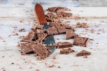 Chocolate Chopped With A Knife