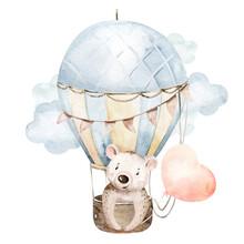 Cute Cartoon Baby Bear Animal Hand Drawn Watercolor Bunny Illustration With Air Balloon. Kids Nursery Wear Fashion Design, Baby Shower Invitation Card.