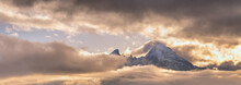 Foggy Clouds, Mountain Top And...