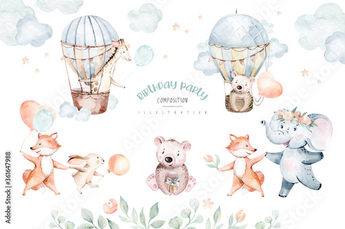 Cute baby air balloon birthday party nursery watercolor fox, elephant bunny, crocodile, giraffe bear rabbit animal isolated illustration for children baby shower. Tropical jungle nursery posters